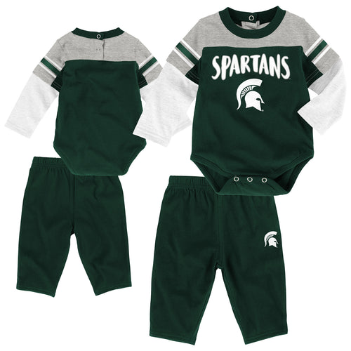 Michigan State Long Sleeve Creeper & Pants Outfit