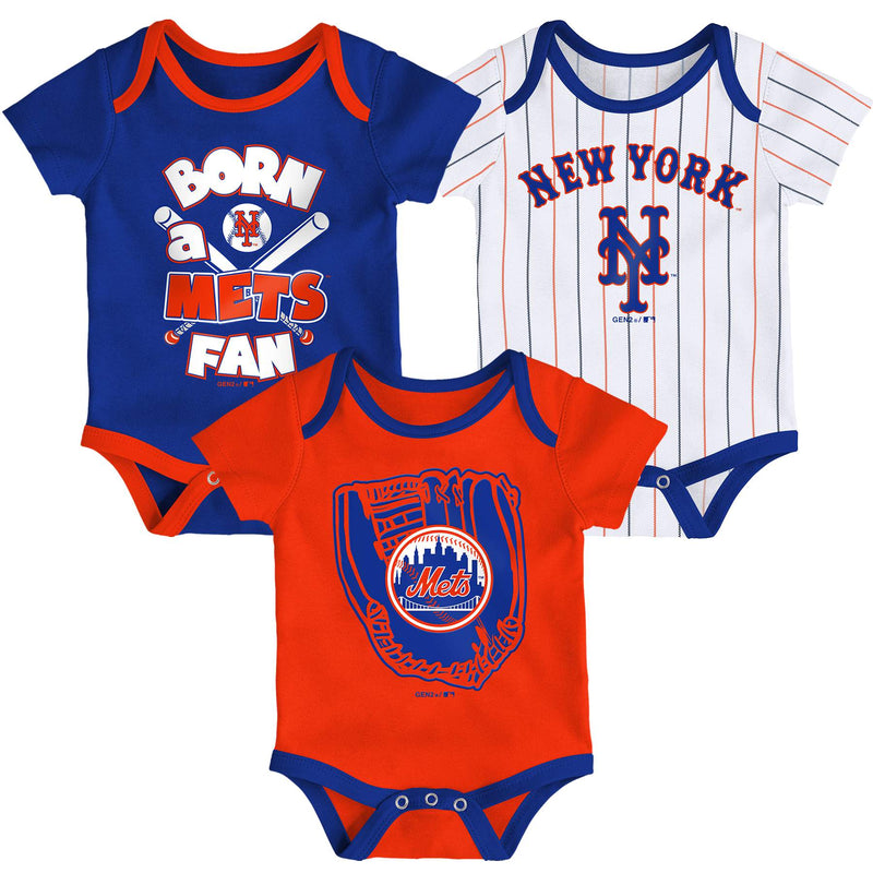 Mets Baseball Fan 3 Pack Bodysuit Set