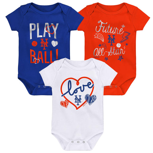 Mets Girl 3 Piece Bodysuit Set