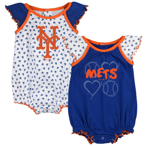 Mets Baby Girl Hearts Duo Bodysuit Set