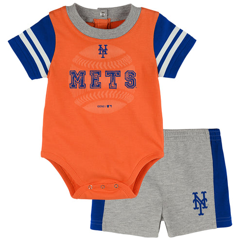Mets Baby Boy Bodysuit with Shorts