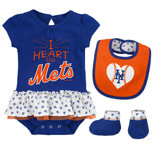 Baby Girl I Heart The Mets Skirted Bodysuit Set