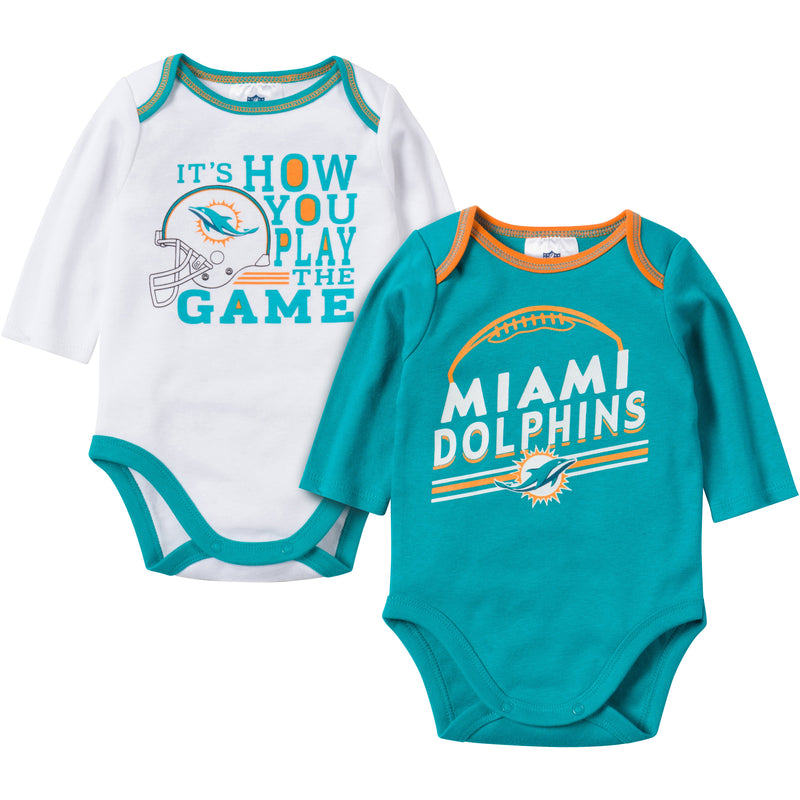 Baby Dolphins Fan Long Sleeve Onesie 2 Pack