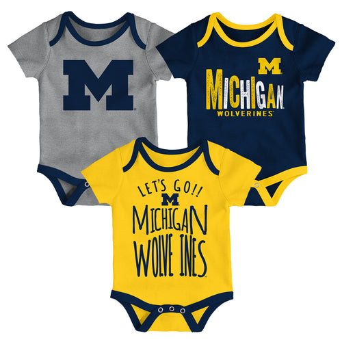 Wolverines Let's Go 3-Pack Bodysuit Set
