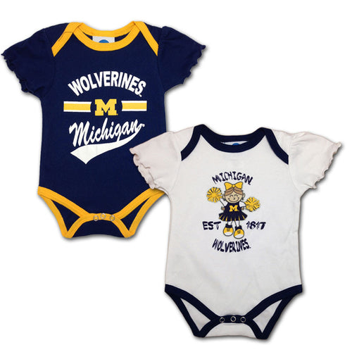 University of michigan baby clothes babyfans babyfans michigan baby girl body suits 2 pack negle Choice Image