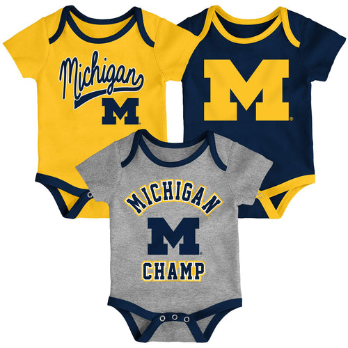 Michigan Wolverines Champ 3-Pack Bodysuit