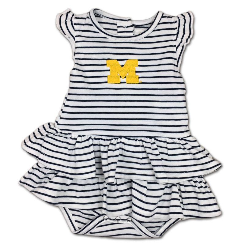 Michigan Stripes 'n Ruffles Skirted Romper