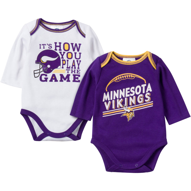 Baby Vikings Fan Long Sleeve Onesie 2 Pack