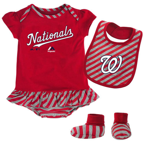 Nationals Girl Striped Bib, Bootie and Creeper Set
