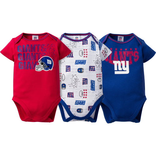 NY Giants Baby 3 Pack Short Sleeve Onesies