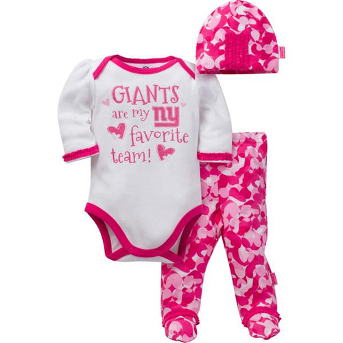 NY Giants Baby Girls 3 Piece Bodysuit, Footed Pant and Cap Set