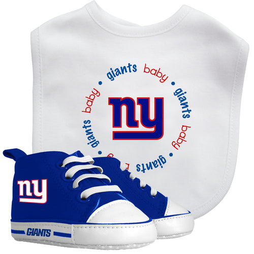 NY Giants Baby Bib with Pre-Walking Shoes