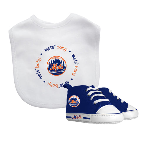 Mets Baby Bib with Pre-Walking Shoes
