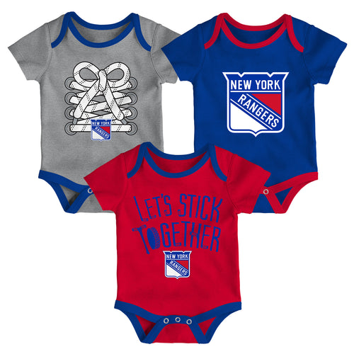 NY Rangers Let's Stick Together 3-Pack Bodysuit Set
