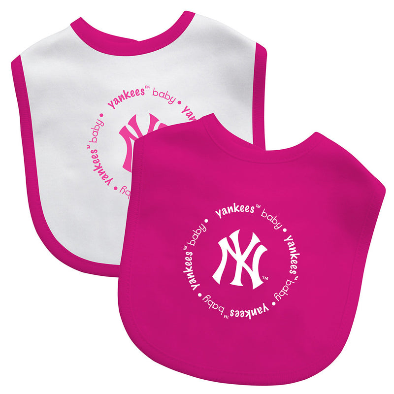 Pink Yankees Two Pack Baby Bibs