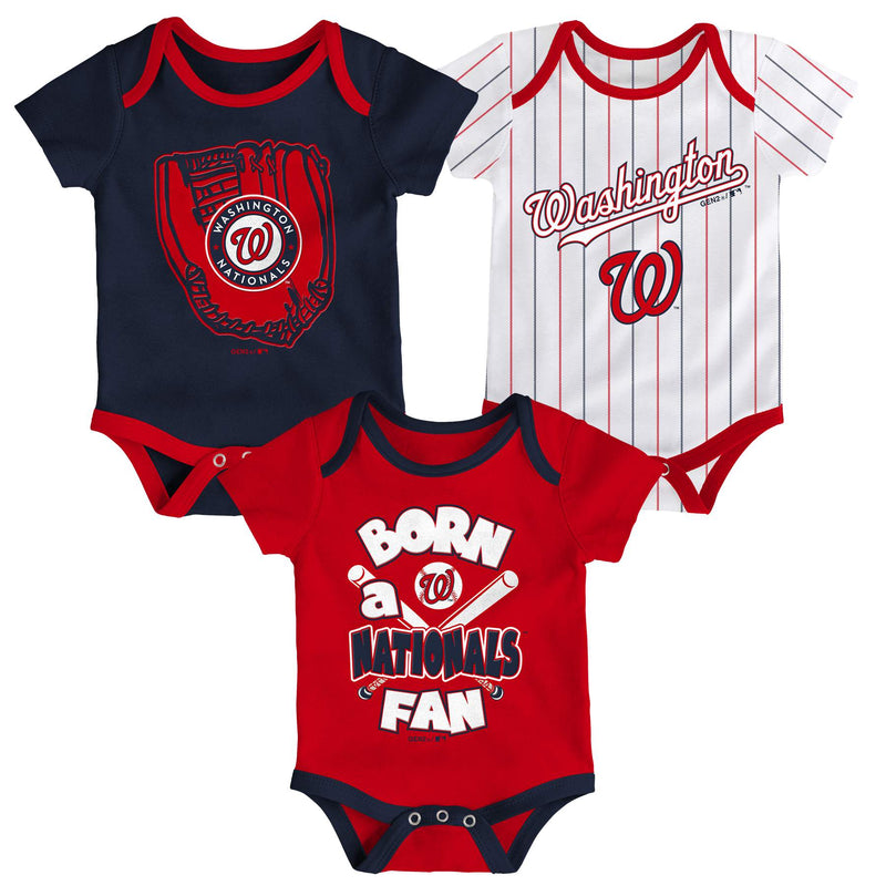 Nationals Baseball Fan 3 Pack Bodysuit Set