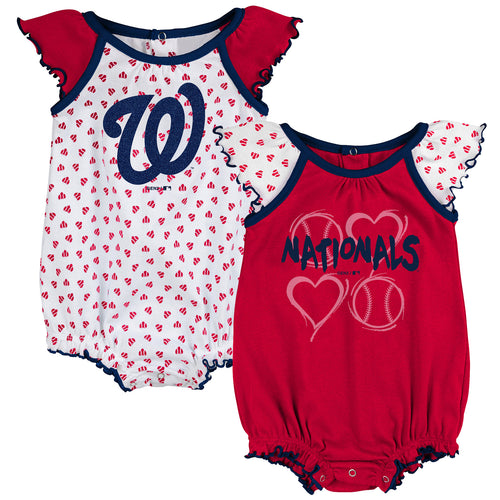 Nationals Baby Girl Hearts Duo Bodysuit Set