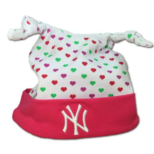 Pink I Love the Yankees Baby Beanie