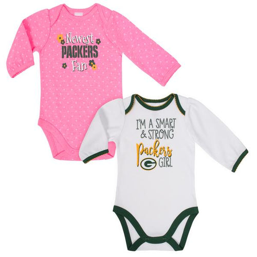 Packers Baby Girl Long Sleeve Bodysuit, 2-pack