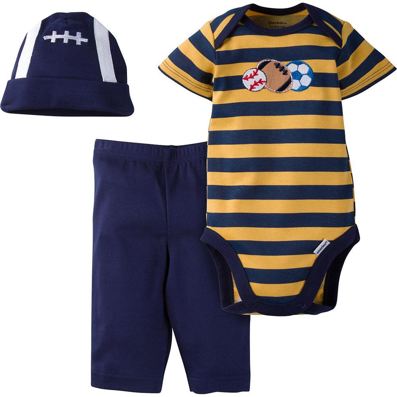 3-Piece Boys Sports Bodysuit & Pant Set