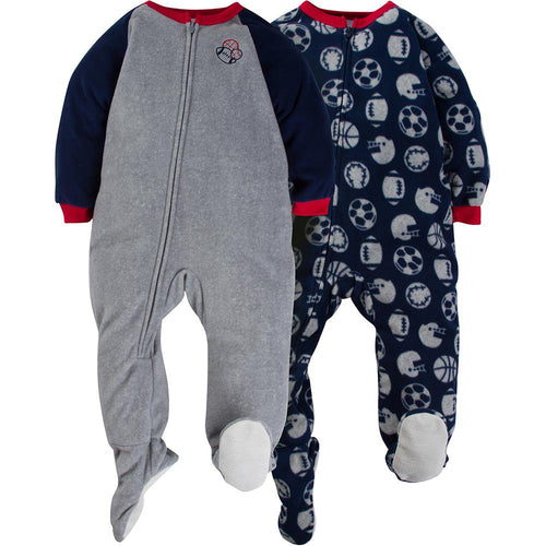 2-Pack Boys Sports Toddler Blanket Sleepers