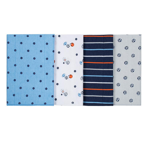 4-Pack Boys Sports Flannel Burpcloths