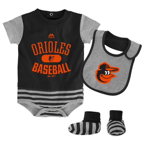 Orioles Baby Onesie, Bib and Bootie Set