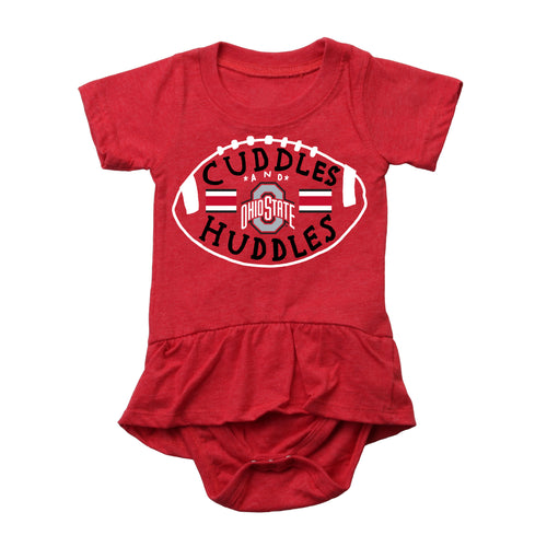 Cuddles and Buckeyes Huddles Baby Girl Skirted Bodysuit