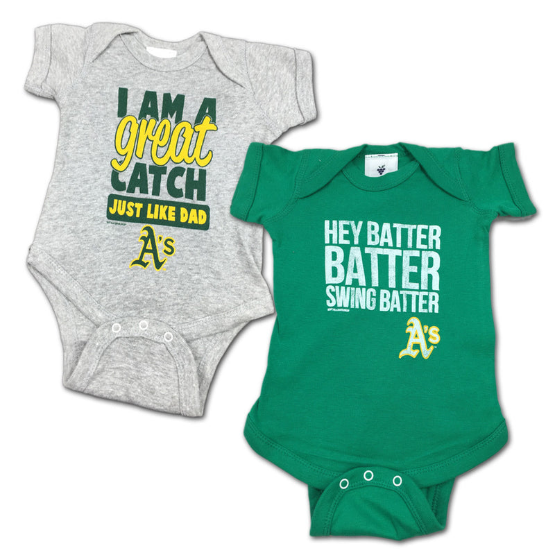"Athletics ""Hey Batter"" Bodysuit 2 Pack"