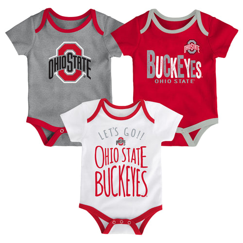 Buckeyes Let's Go 3-Pack Bodysuit Set
