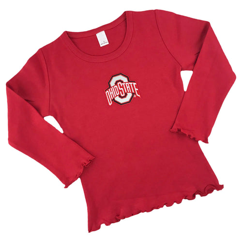 Ohio State Little Girl Long Sleeve Shirt with Ruffles