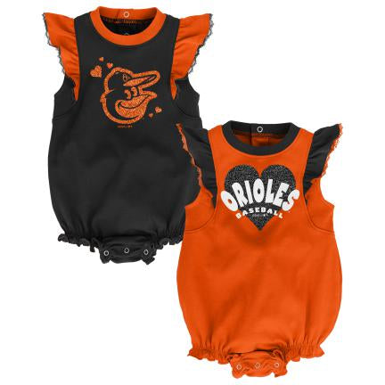 Orioles Baseball Girl Ruffled Bodysuits