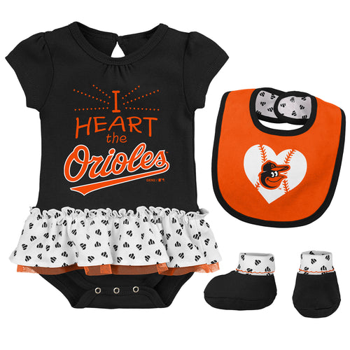 Baby Girl I Heart The Orioles Skirted Bodysuit Set