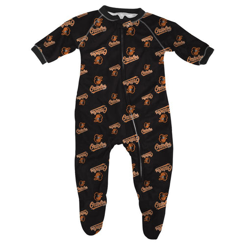 Orioles Baby Zip Up Pajamas