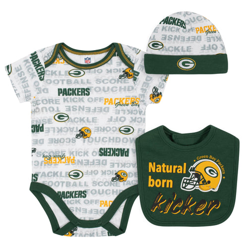 Packers Baby Boy Bodysuit, Bib & Cap Set