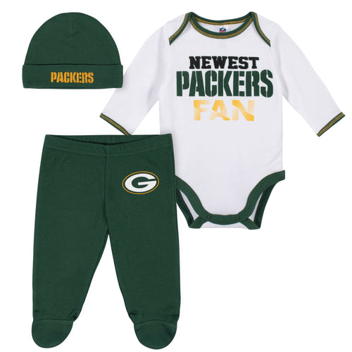 Newest Packers Fan Baby Boy Bodysuit, Footed Pant & Cap Set
