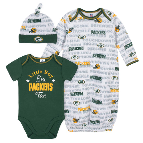 Packers Baby Boy Bodysuit, Gown & Cap Set