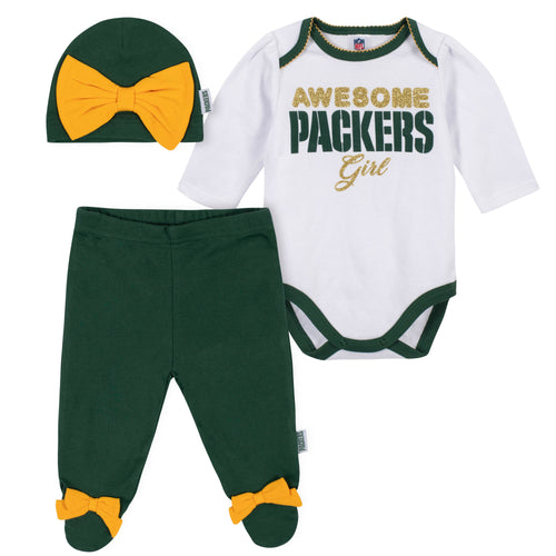 Awesome Packers Baby Girl Bodysuit, Footed Pant & Cap Set