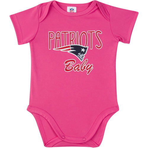 Patriots Baby Girl Pink Team Bodysuit