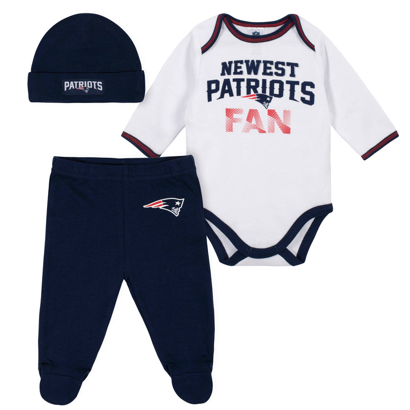 Newest Patriots Fan Baby Boy Bodysuit, Footed Pant & Cap Set