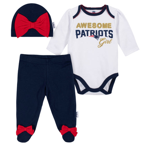 Awesome Patriots Baby Girl Bodysuit, Footed Pant & Cap Set