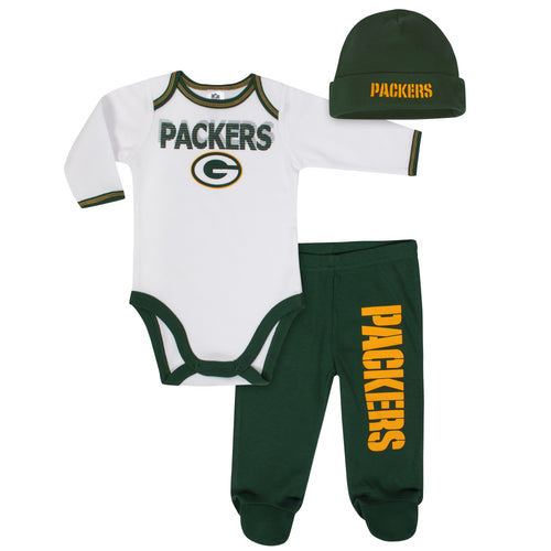 Packers Baby Boy Onesie, Footed Pant & Cap Set