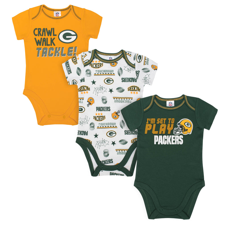 Packers All Set To Play 3 Pack Short Sleeved Onesies Bodysuits
