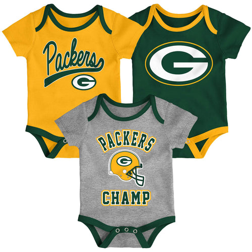 Packers Champ 3 Pack Bodysuit Set