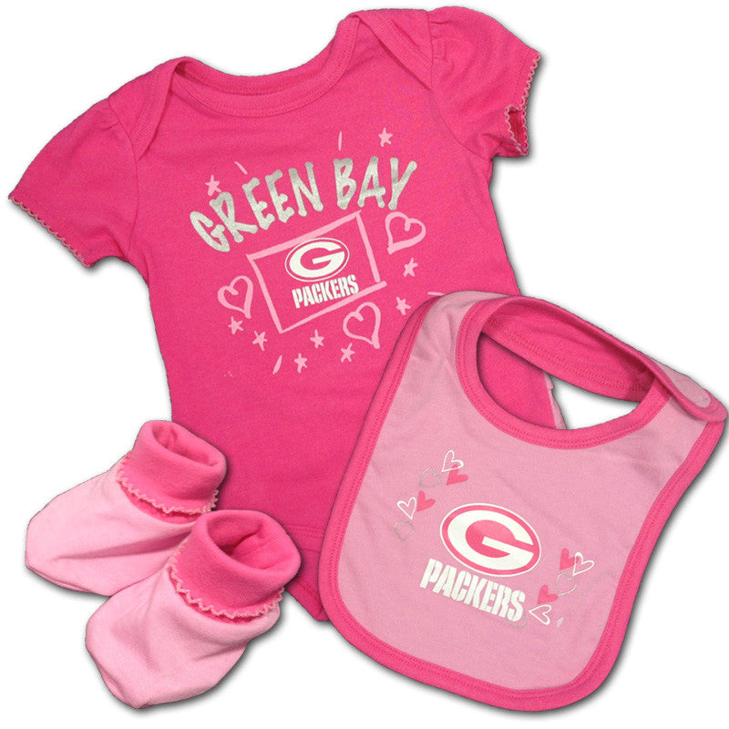 Baby Packers Pink Creeper, Bib & Bootie Set
