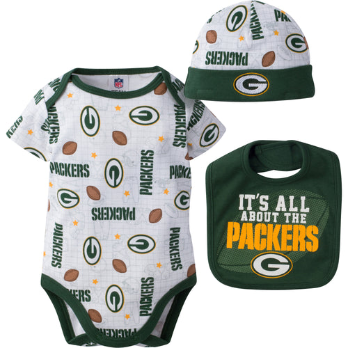 Packers Baby Logo Onesie, Cap and Bib