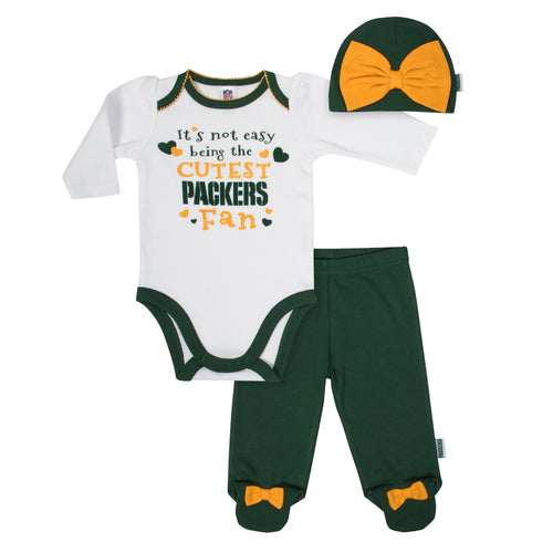 Packers Baby Girl Onesie, Footed Pant & Cap Set