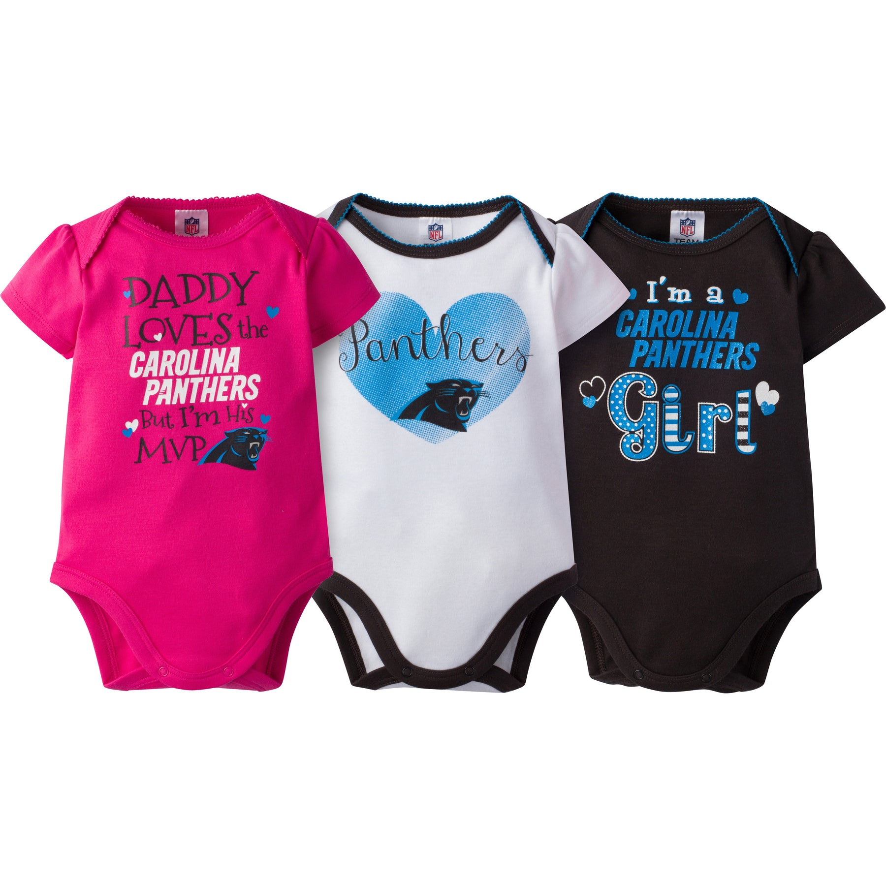 Panthers Girls 3 Pack Short Sleeved Onesies – babyfans e2dee567e