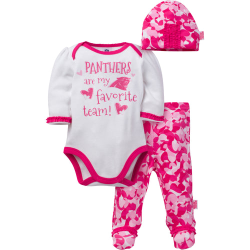 Panthers Baby Girl 3 Piece Outfit