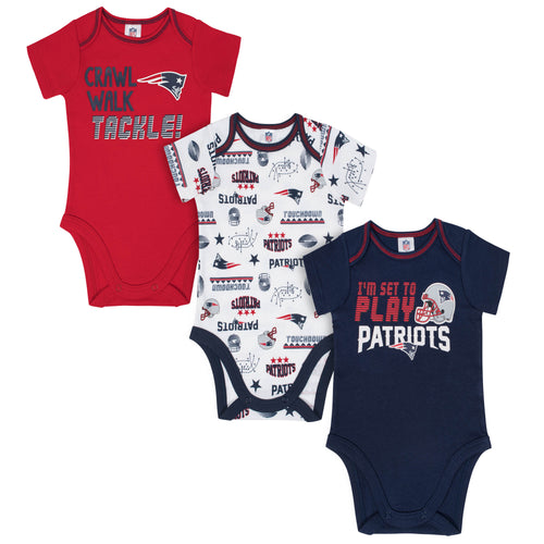 Patriots All Set To Play 3 Pack Short Sleeved Onesies
